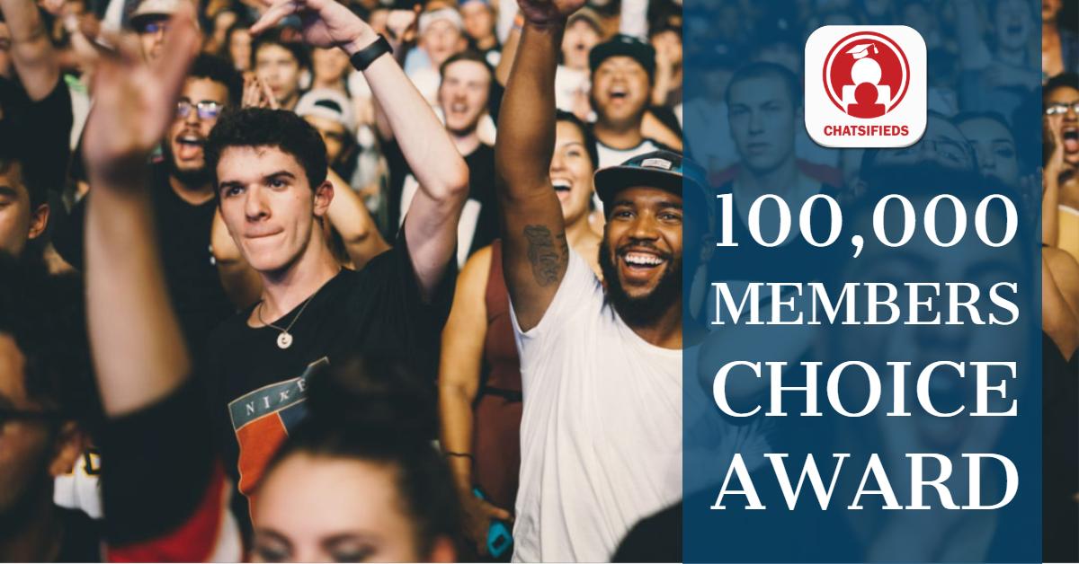 Chatsifieds 100K members choice award