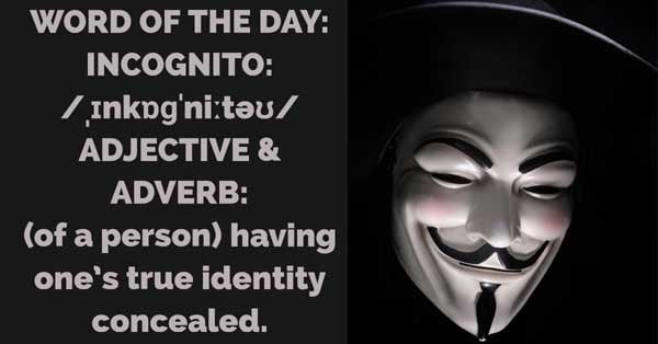 Incognito Meaning Incognito Etymology Incognito Synonyms and Antonyms definition Chatsifieds